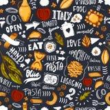Ιταλικό άνευ ραφής σχέδιο ζυμαρικών με τα μακαρόνια σκίτσων, το ελαιόλαδο και συρμένη τη χέρι εγγραφή Πρότυπο για τις σύγχρονες ε απεικόνιση αποθεμάτων