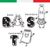 Ιταλικό αλφάβητο Βάτραχος, λουκάνικο, σημειωματάριο Διανυσματικοί γράμματα και χαρακτήρες Στοκ εικόνες με δικαίωμα ελεύθερης χρήσης