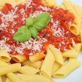 ιταλικό rigatoni ζυμαρικών γεύματος Στοκ Εικόνες