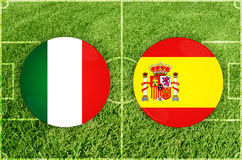 Ιταλία Ισπανία εναντίον Στοκ Εικόνα
