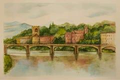 Ιταλία, Φλωρεντία, watercolor Στοκ Εικόνες