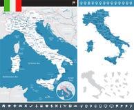 Ιταλία - χάρτης και σημαία - infographic απεικόνιση Στοκ Εικόνες