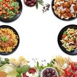 Ιταλικά γεύματα και συστατικά ζυμαρικών κολάζ τροφίμων στοκ εικόνα με δικαίωμα ελεύθερης χρήσης