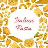 Ιταλικά μακαρόνια ζυμαρικών, διανυσματική αφίσα μακαρονιών Στοκ Εικόνα