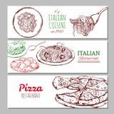 Ιταλικά οριζόντια εμβλήματα εστιατορίων Στοκ Φωτογραφία
