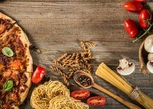 Ιταλική ανασκόπηση τροφίμων Στοκ Φωτογραφία