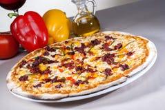 Ιταλική γαστρονομική πίτσα που συνοδεύεται από το κόκκινο κρασί και τα καρυκεύματα Στοκ φωτογραφίες με δικαίωμα ελεύθερης χρήσης
