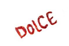 Ιταλική ορθογραφία λέξης dolce (γλυκό) με τη μαρμελάδα Στοκ φωτογραφία με δικαίωμα ελεύθερης χρήσης