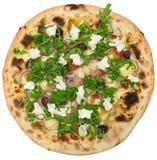 Ιταλική πίτσα με τη μοτσαρέλα και λαχανικά που απομονώνονται στο λευκό Στοκ Εικόνες