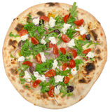 Ιταλική πίτσα τη μοτσαρέλα που απομονώνεται με στο λευκό Στοκ εικόνες με δικαίωμα ελεύθερης χρήσης