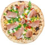 Ιταλική πίτσα το μπέϊκον που απομονώνεται με στο λευκό Στοκ Φωτογραφία