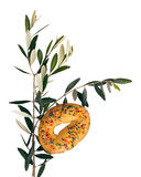 Ιταλική παράδοση της Κυριακής φοινικών - κέικ και ελιά, για την ευλογία Στοκ εικόνα με δικαίωμα ελεύθερης χρήσης