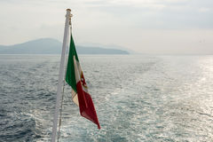 Ιταλική σημαία στη βάρκα Στοκ Εικόνα