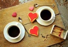 Ιταλικός καφές στο πρόγευμα με τα μπισκότα Στοκ Εικόνα
