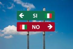 Ιταλικό δημοψήφισμα ναι & x28 SI& x29  ή αριθ. & x28 NO& x29  Στοκ Εικόνα