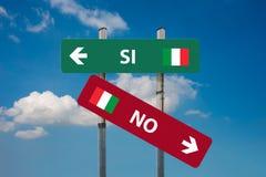 Ιταλικό δημοψήφισμα ναι & x28 SI& x29  ή αριθ. & x28 NO& x29  Στοκ Φωτογραφίες