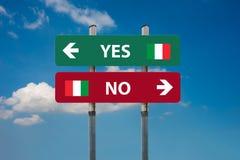 Ιταλικό δημοψήφισμα ναι & x28 SI& x29  ή αριθ. & x28 NO& x29  Στοκ φωτογραφίες με δικαίωμα ελεύθερης χρήσης