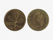 20 ιταλικό νόμισμα λιρετών Στοκ Εικόνες