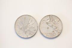 Ιταλικό παλαιό νόμισμα δέκα λιρετών Στοκ Φωτογραφίες