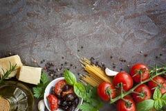Ιταλικό υπόβαθρο τροφίμων Στοκ Φωτογραφία