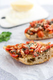 Ιταλικό ψημένο ντομάτα bruschetta Στοκ Εικόνα
