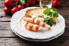 Ιταλικό antipasto με τα shripms και το άσπρο κρασί Στοκ εικόνα με δικαίωμα ελεύθερης χρήσης