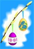 ιτιά κλαδίσκων γατών αυγών Πάσχας διανυσματική απεικόνιση