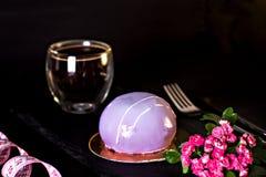 Ιώδες κέικ μαύρη σταφίδα κέικ Στρογγυλό κέικ σε ένα λούστρο καθρεφτών Στοκ φωτογραφία με δικαίωμα ελεύθερης χρήσης