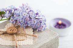 Ιώδη λουλούδια με το κιβώτιο δώρων Στοκ Εικόνα