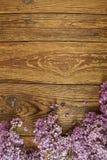 Ιώδη λουλούδια σε ένα ξύλινο υπόβαθρο, πλαίσιο Στοκ εικόνα με δικαίωμα ελεύθερης χρήσης