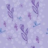 Ιώδες άνευ ραφής floral σχέδιο - απεικόνιση Στοκ Εικόνες