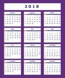 Ιώδες επιχειρησιακό αμερικανικό ημερολόγιο για το έτος 2018 τοίχων Στοκ Εικόνα