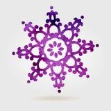 Ιώδες διανυσματικό κατασκευασμένο snowflake που απομονώνεται στο άσπρο υπόβαθρο Στοκ Εικόνα