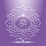 Ιώδες στιλπνό έμβλημα chakra sahasrara Στοκ Εικόνες