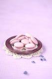Ιώδες Macarons με την πλήρωση κρέμας βακκινίων Στοκ εικόνα με δικαίωμα ελεύθερης χρήσης