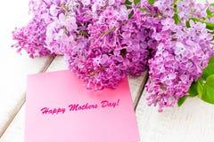 Ιώδης ανθοδέσμη με την ευτυχή κάρτα ημέρας μητέρων Στοκ Εικόνες