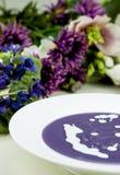 Ιώδης σούπα πατατών και πράσων με την κρέμα Στοκ Εικόνες