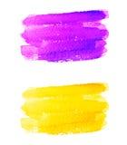 Ιώδη και κίτρινα εμβλήματα watercolor Στοκ Εικόνα