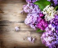 Ιώδη λουλούδια πέρα από το ξύλινο υπόβαθρο στοκ εικόνες