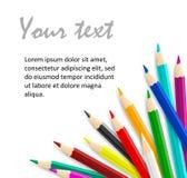 Ιδέα έννοιας με τα ζωηρόχρωμα διανυσματικά μολύβια ως πλαίσιο γωνιών Στοκ εικόνες με δικαίωμα ελεύθερης χρήσης