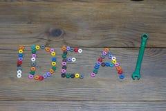 Ιδέα λέξης, μίγμα των καρυδιών χρώματος στοκ εικόνα με δικαίωμα ελεύθερης χρήσης