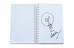 «Ιδέα λαμπτήρων» που γράφεται στο σημειωματάριο Στοκ Εικόνα