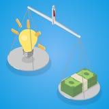 Ιδέα και χρήματα που ισορροπούνται στο libra Στοκ Φωτογραφία