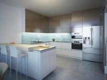 Ιδέα της σύγχρονης κουζίνας Στοκ φωτογραφία με δικαίωμα ελεύθερης χρήσης