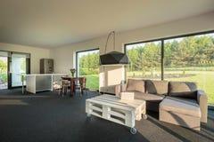 Ιδέα combo δωματίων κουζίνα-διαβίωσης Στοκ Φωτογραφία