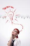 Ιδέες γενεθλίων στο κεφάλι μου ενός νέου κοριτσιού Στοκ Φωτογραφίες