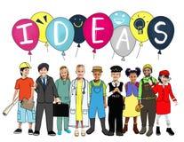 Ιδέες που σκέφτονται την έννοια δημιουργικότητας έμπνευσης έννοιας Στοκ Εικόνες