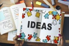 Ιδέες που σκέφτονται τη δημιουργική έννοια σκέψεων αποστολής Στοκ Εικόνα