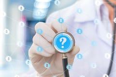 Ιδεατό δίκτυο γιατρών για να απαντήσει στις ερωτήσεις Στοκ εικόνες με δικαίωμα ελεύθερης χρήσης