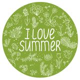 ` Ι θερινό ` απόσπασμα αγάπης και doodle συρμένα χέρι λουλούδια Στοκ φωτογραφία με δικαίωμα ελεύθερης χρήσης